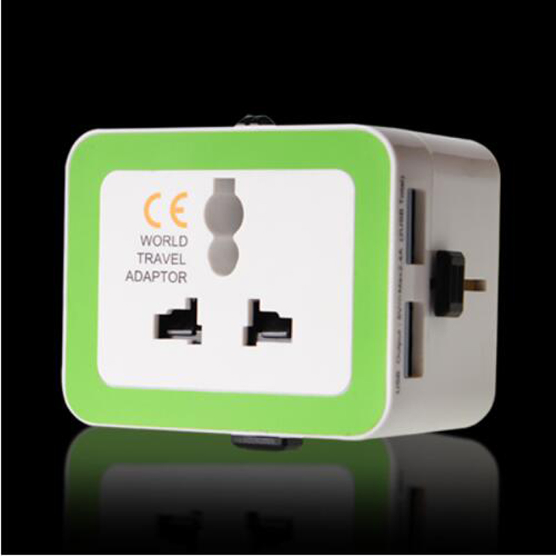 New Universal adapter european uk aus usa world travel adapter usb power adapter power outlet with two 2 usb ports for tourism