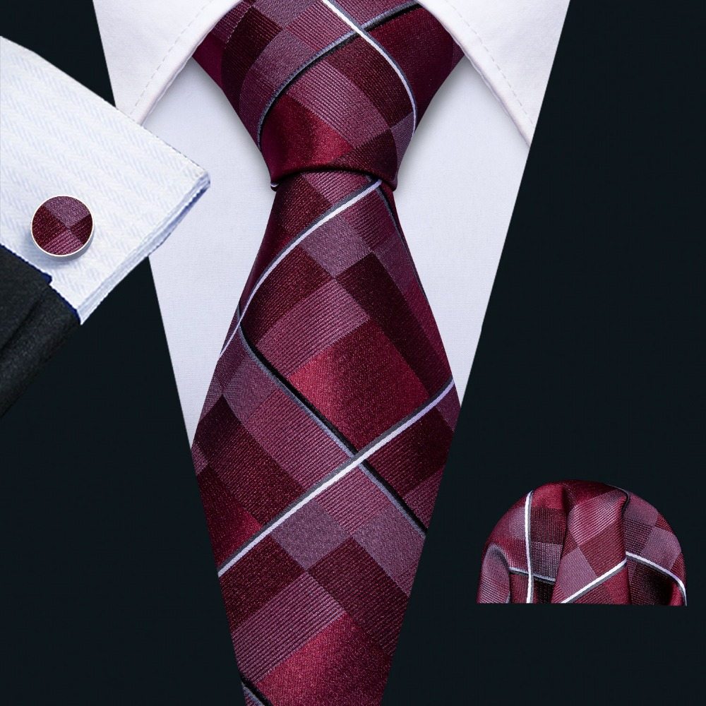 New Mens Wedding Tie Red Plaid Silk Tie Hanky Set Barry.Wang 8.5cm Fashion Designer Neck Ties For Men Party Dropshipping FA-5151