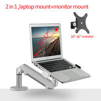 aluminum OZ 1S 10 0 8kg air press 2 IN 1 32 monitor stand arm mounts dual arm gas spring tablet laptop desktop support bracket