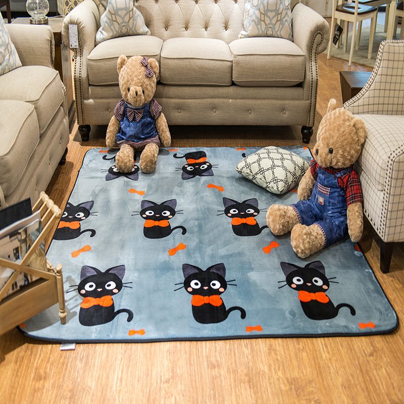 Cute Black Cat New Carpet Rugs Mat Baby Climbing Yoga Mat Cartoon Game Pad  Thick Carpet