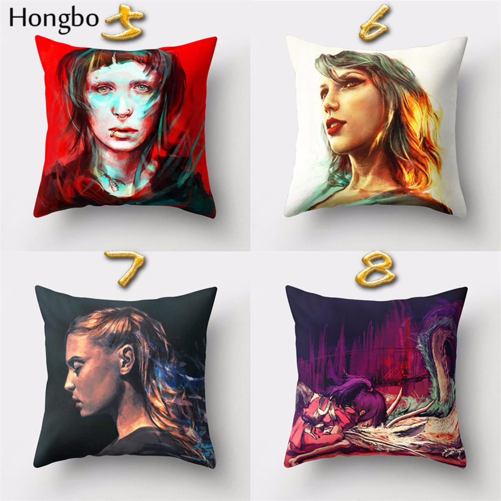 Hongbo 1 Pcs Cushion Cover Pillow Case Women Men Angel Pattern Polyester Sofa Car Home Decoration in Cushion Cover from Home Garden