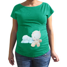 Nursing Tshirt Maternity Letter Print Multicolor Short Sleeve T-shirt Pregnant Tops Camisetas De Embarazadas Maternity Tshirt(China)