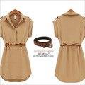 Летние платья для женщин с коротким рукавом женская футболка платье поворот воротником женщина рабочие платья свободно плюс размер женские платья 849
