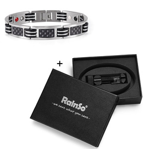 Image 5 - Rainso Chain Bracelets Men Jewelry Energy Magnetic Health Bracelet  Brazil Style Couples Black Titanium Bracelets Handmade