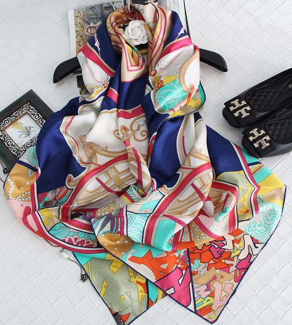 2017 Moda Mujer 100% de la Bufanda de Seda Grande de Seda Cuadrada Regalo Mantón de Washington Del Carro Pesado sarga de 140*140 cm de Alto calidad SY