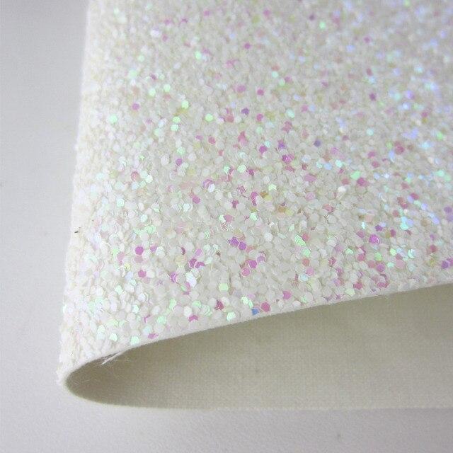"""Folha A4 8 """"X 11.8"""" White Rosa Chunky Glitter Tecido de Couro Falso Tecido de couro do PLUTÔNIO Para O ofício de Costura arco DIY 1 peças F0035"""