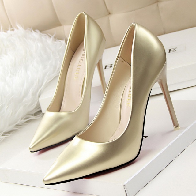 12 Colors 2016 New Fashion High Heels Women Pumps Thin Heel Classic White Red Beige Gold Sliver Sexy Wedding Shoes SMYDS-C0063