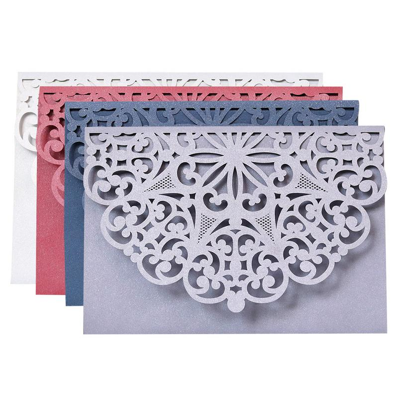 10PCS New Laser Cut Hollow Cover Wedding Invitations Cards Greeting Cards Business Simple Style Invitations Cards Party Supplies