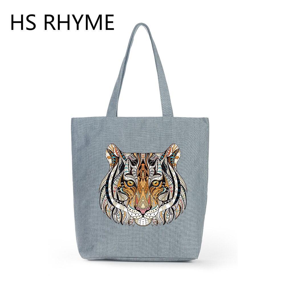 HS RHYME 2017 Women Bag Canvas Shoulder Bag Vintage Tiger Clutch Handbag Female Shopping Bag Autumn Travel Beach Bag for Girls osiris rhyme remix shearling