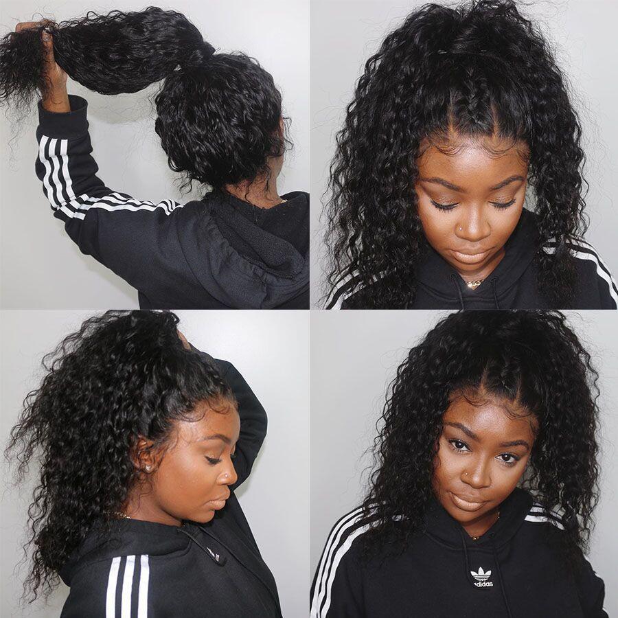 13x6 brésilien bouclés cheveux humains perruque 360 dentelle frontale perruque pré plumé avec bébé cheveux 150 densité dentelle perruques pour les femmes noires Remy