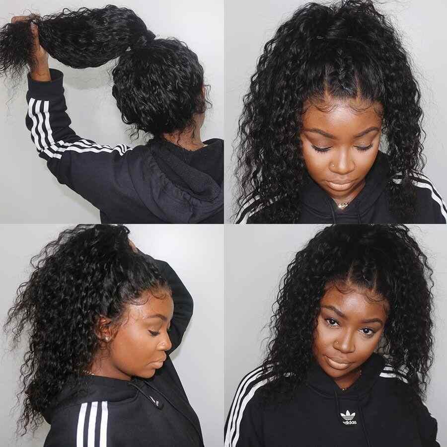 250 густой парик с подкладкой 360 синтетический фронтальный парик бразильские вьющиеся человеческие волосы парик предварительно сорвал с волосами младенца для черных женщин Remy сплетни