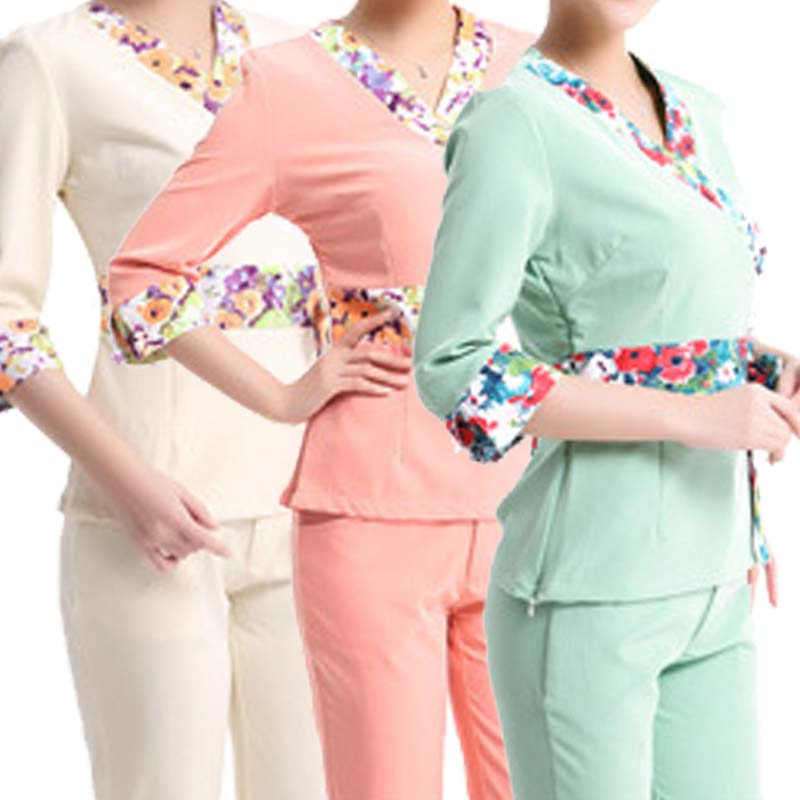 SET Women s Printed Bowknot Waist Band Scrubs Set Medical Clothing Nursing Uniforms Beautician Occupation