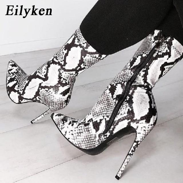 afa1150c0a8 Eilyken 2019 New Women Zipper Boots Snake Print Ankle Boots High heels  Fashion Pointed toe Ladies