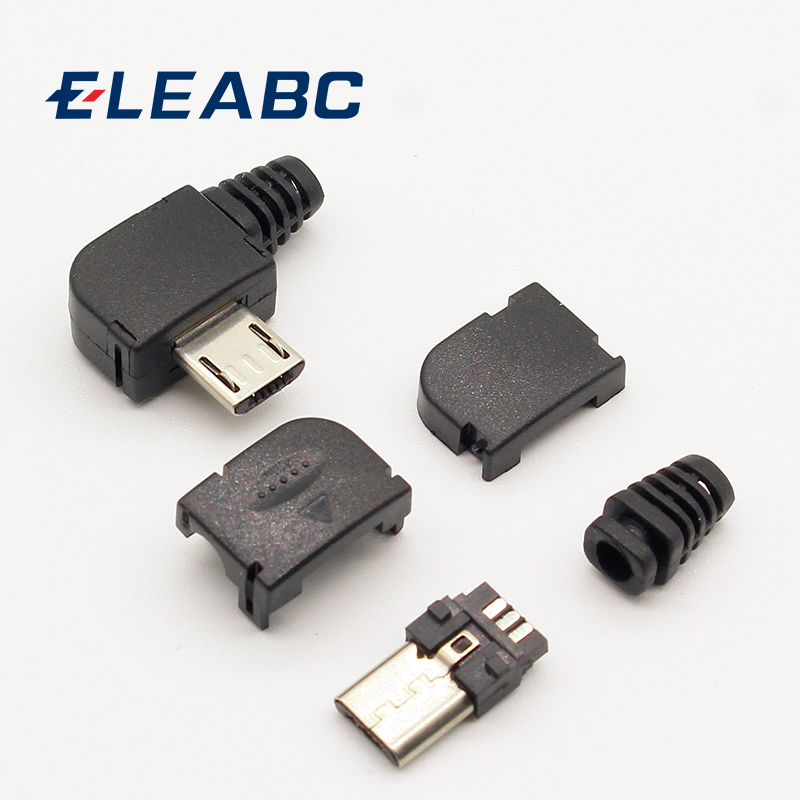 10sets/lot Micro 5P USB Male Plug Solder Type Tail Charging Plug 90 Degree