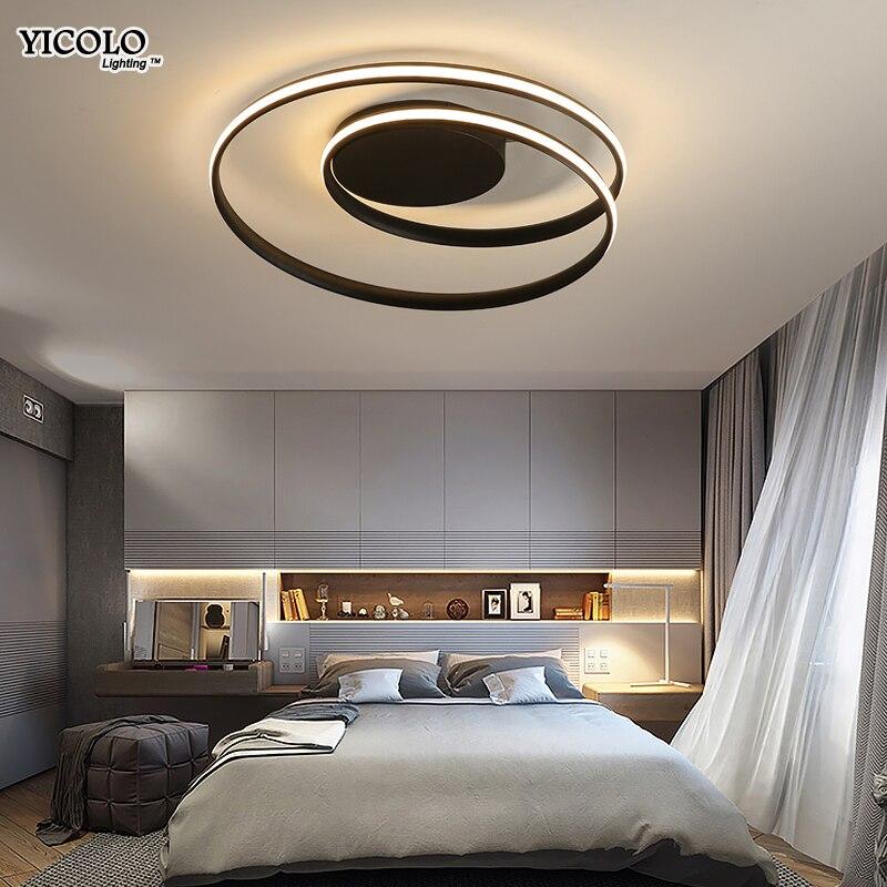Moderne Plafonniers LED Lampe Pour Salon Chambre Salle D'étude Blanc noir couleur surface monté Plafonnier Déco AC85-265V