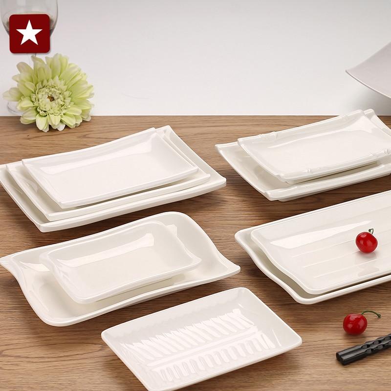 Japanese white melamine plastic rectangular disc steak Sushi Platter hotel buffet restaurant tableware 10 styles( & Online Buy Wholesale white rectangular dishes from China white ...