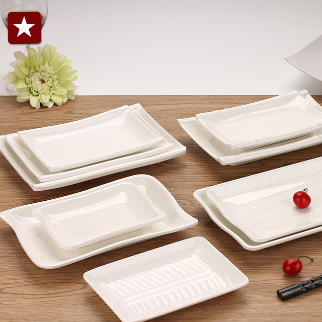 Japanese white melamine plastic rectangular disc steak Sushi Platter hotel buffet restaurant tableware 10 styles & Japanese white melamine plastic rectangular disc steak Sushi Platter ...