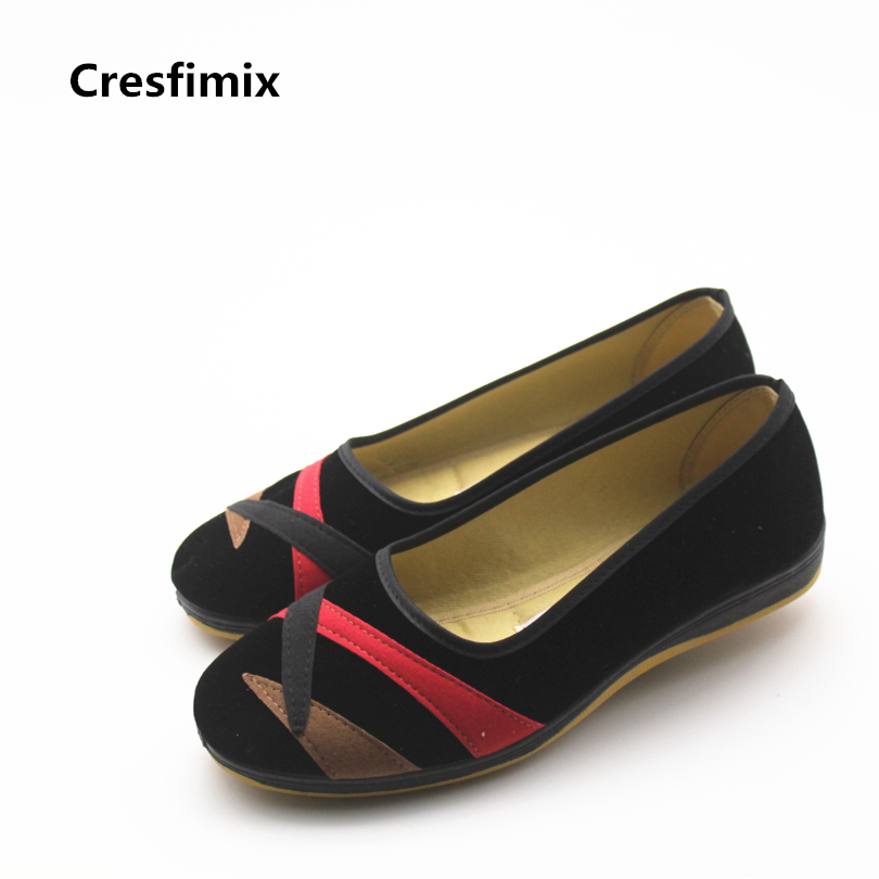 Cresfimix women cute comfortable slip on canvas shoes lady fashion retro dance shoes with rubber bottom woman cool black shoes cresfimix women fashion