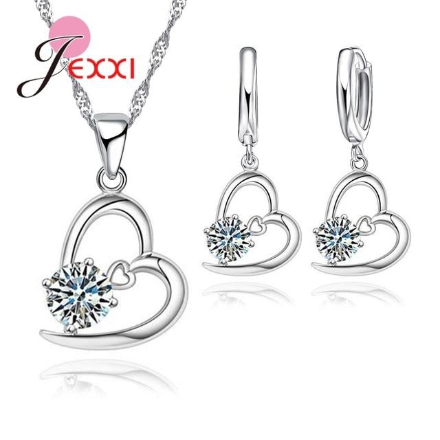 JEXXI 2018 Hot Sale Wedding Jewelry Sets S90 Silver Pendant For Women Cubic Zirc