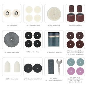 """Image 4 - Meterk Juego de accesorios para herramientas rotativas, 349 Uds., 1/8 """", Kit de accesorios para amoladora eléctrica, lijado, perforación de grabado"""