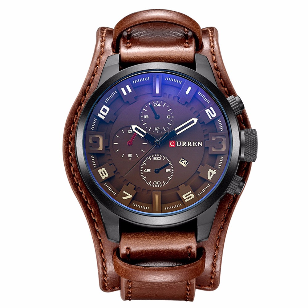 HTB1k5bwOgHqK1RjSZFPq6AwapXaz CURREN Top Brand Luxury Men Watches Male Fashion & Casual Sport Military Clock Leather Strap Quartz Business Men Watch Gift 8225