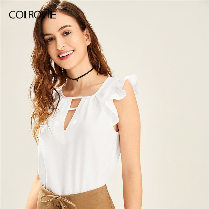 COLROVIE White Solid V Cut Neck Ruffle Shoulder Elegant   Blouse     Shirt   Women 2019 Summer Korean Style Sleeveless Sexy Ladies Tops
