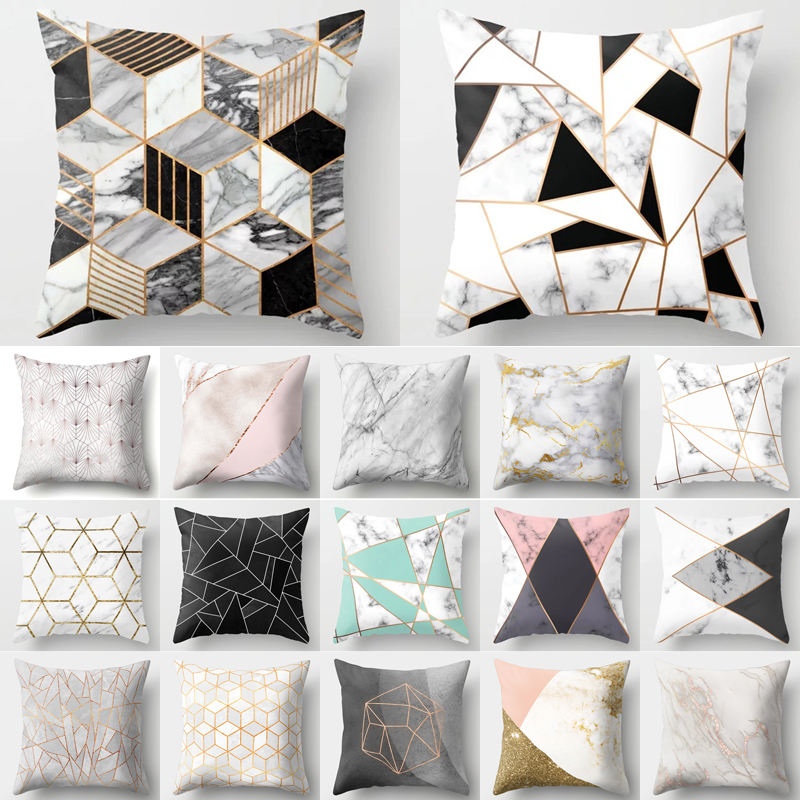 Brief Marble Geometric Sofa Decorative Cushion Cover Pillow Pillowcase Polyester 45*45 Throw Pillow Home Decor Pillowcover 40507