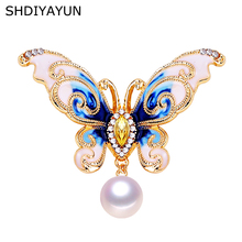 SHDIYAYUN New Pearl Brooch Natural Freshwater Vintage Enamel Butterfly Simple Pins for Women Jewelry Gift