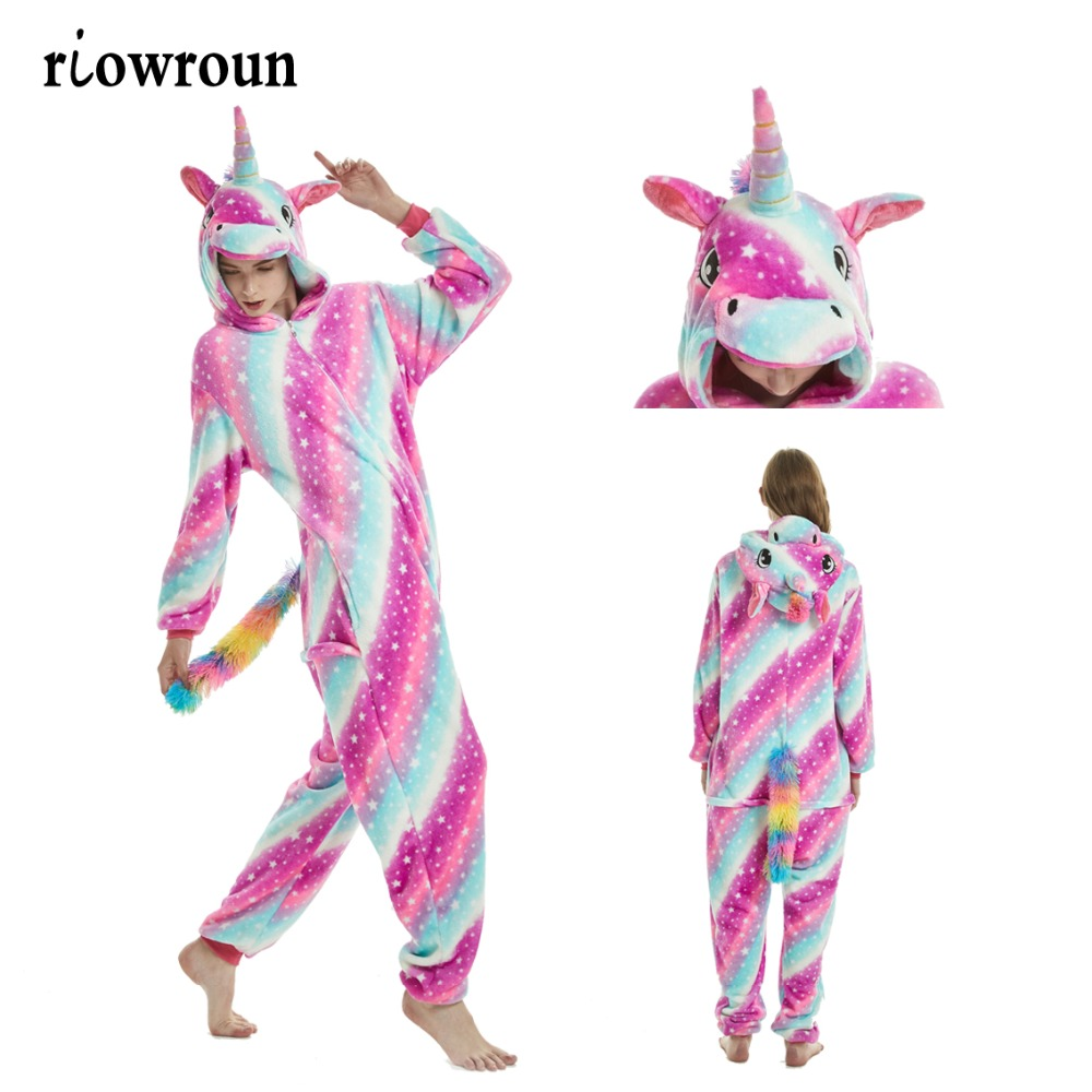 2019 Animal Pajamas Stitch Unicorn Onesie Adult Unisex Women Pajama Unicornio Hooded Winter Flannel Sleepwear