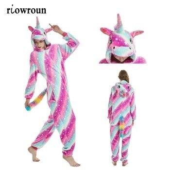 2019 Novo Ponto Unicorn onesies Adulto Unisex Kigurumi Animais Onesie Atacado Mulheres Inverno Flanela Com Capuz Pijamas Adultos