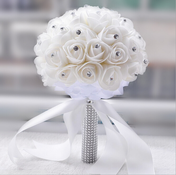 2018 Beautiful White Ivory Bridal Bridesmaid Flower Wedding Bouquet Artificial Rose Crystal Bouquets In From