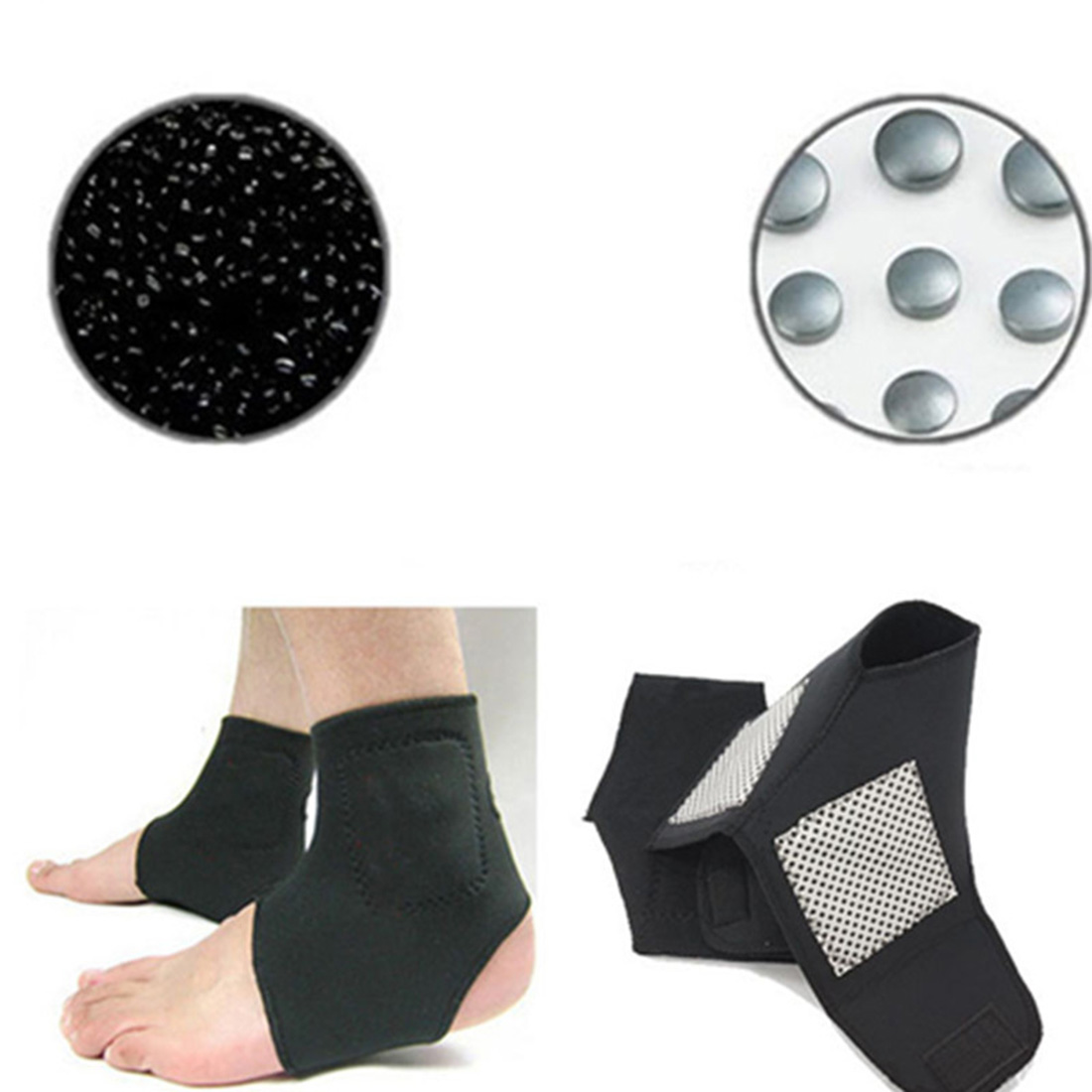 1 Pair Self-heating Tourmaline Far Infrared Magnetic Therapy Ankle Care Belt Support Heel Brace Massager Foot Health Care