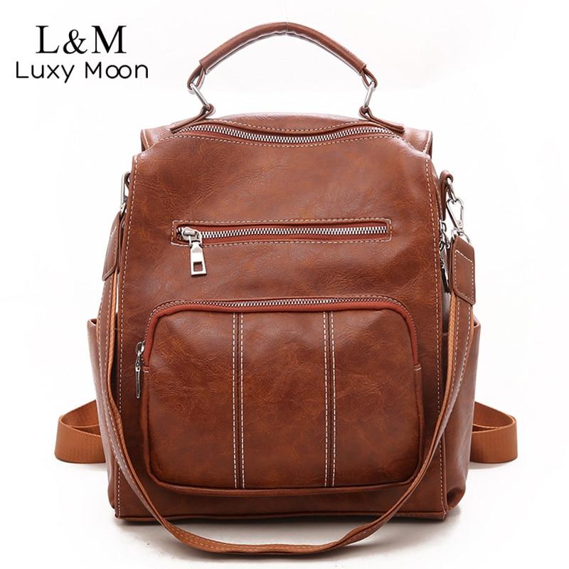 Vintage Leather Backpack Women Female Multifunction Schoolbag Rucksack Brown Large School Bags Teenage Girls Back Pack XA157H