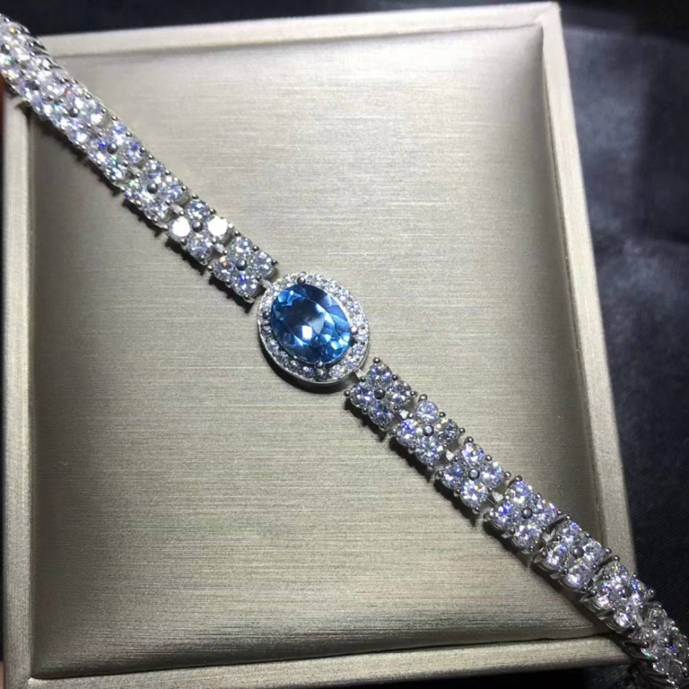 natural blue topaz gem Bracelet Natural gemstone bracelet S925 silver Elegant Luxurious chain Watch women party gift jewelry pair of elegant faux gem zircon oval floral bracelet for women