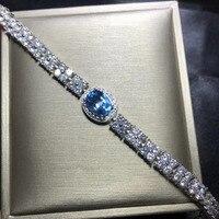 natural blue topaz gem Bracelet Natural gemstone bracelet S925 silver Elegant Luxurious chain Watch women party gift jewelry