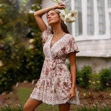 ZOGAA Bohemian Floral Print Summer Dress Women Ruffled Short Sleeve Sashes Wrap V-neck Sexy Lady Beach Party Vestidos 2019