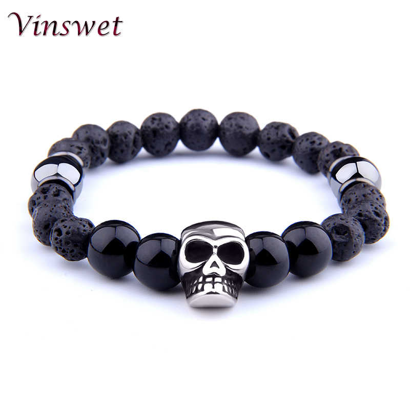 Vinswet Fashion Natural Skull Lava Stone Beads Bracelets For Women Black Onyx Bracelet Hommme Charms Jewelry Pulseira