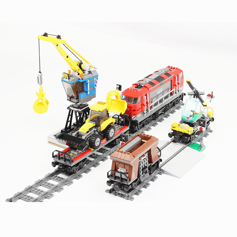 City 02008 02009 02010 the Cargo Train Set Building Blocks Compatible with 60052 60098 RC Tarin with Motor Bricks-in Blocks from Toys & Hobbies    2