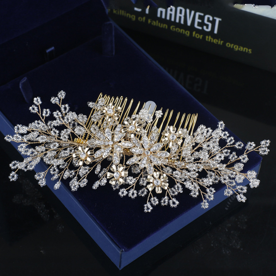 1pc/lots Bridal Hair Clip With Rhinestones Crystal Bride Hair Comb Pin Wedding Jewelry Decor For Party Hair Ornament Accessories faux twinset rib splicing hooded long sleeve slimming modish pu leather jacket for men