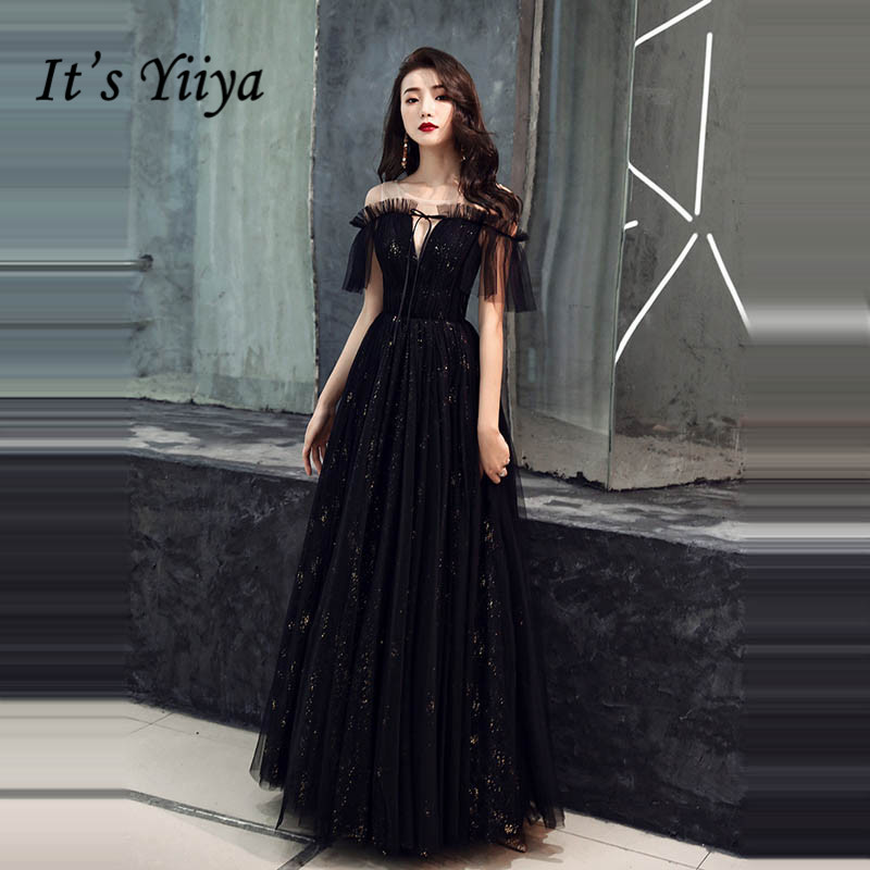 It's YiiYa   Evening     Dress   Boat Neck Shining Black Fomal Reflective   Dresses   Fashion Pleat Tulle Lace Up Long Party Gown E010