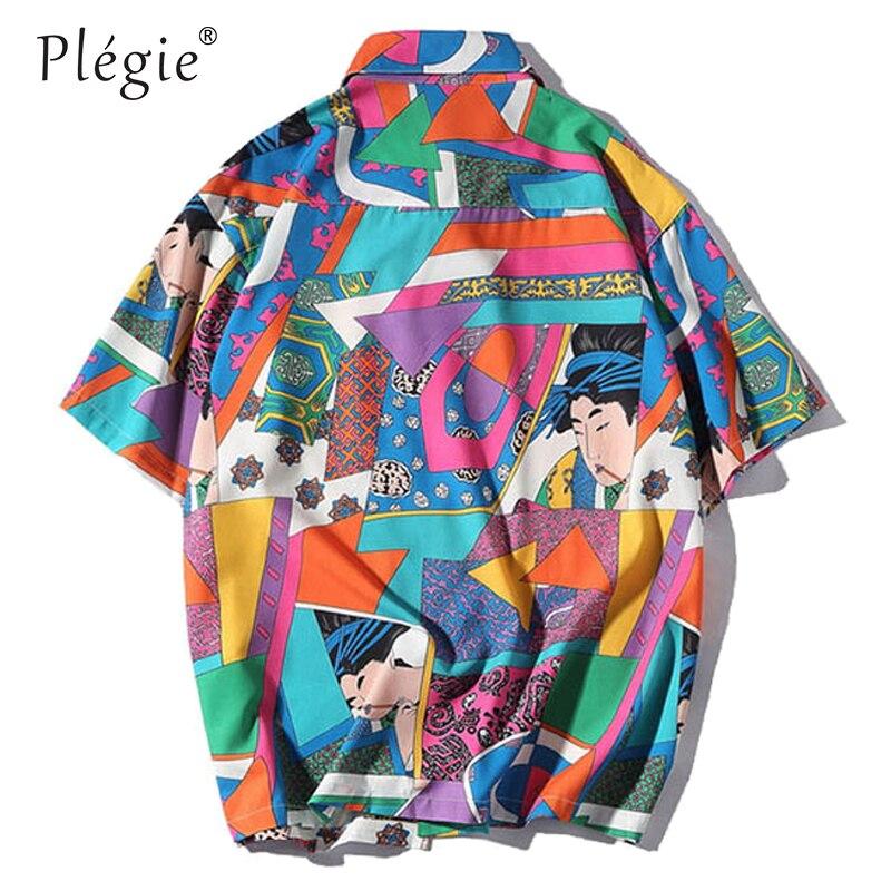 18b4019f Plegie Unisex Short Sleeve Shirt Men Hip Hop Japanese Streetwear ...