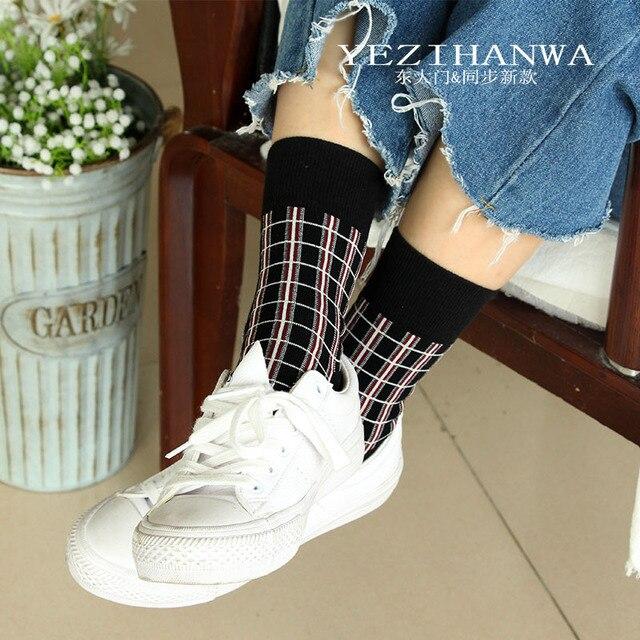 Japanese style plaid socks fashion casual Harajuku compression women sock autumn winter neutral wind street trend cotton calzini 1