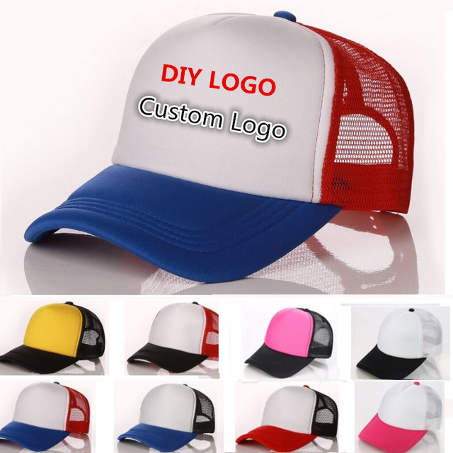995b3935053 10pcs a lot custom logo hat Trucker Caps DIY Customized Printing Logo  Polyester Mesh Hat Sport Advertisement Promotion Hats
