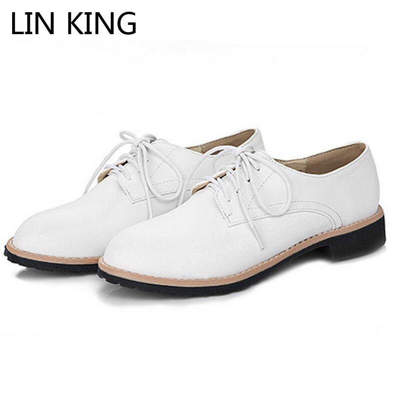 LIN KING New Square Heel Women Leather Pumps Sexy Lace Up Single Shoes Comfortable Shallow Mouth Casual Ladies Platform Shoes lin king fashion pearl pointed toe women flats shoes new arrive flock casual ladies shoes comfortable shallow mouth single shoes