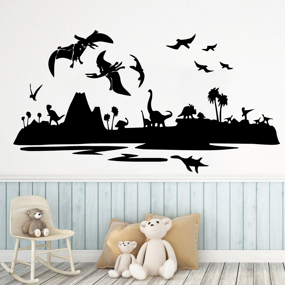 Creative Dinosaur Park Wall Stickers Boys Bedroom Art Decals For Childrens Room Decal Mural Living vinilo pared