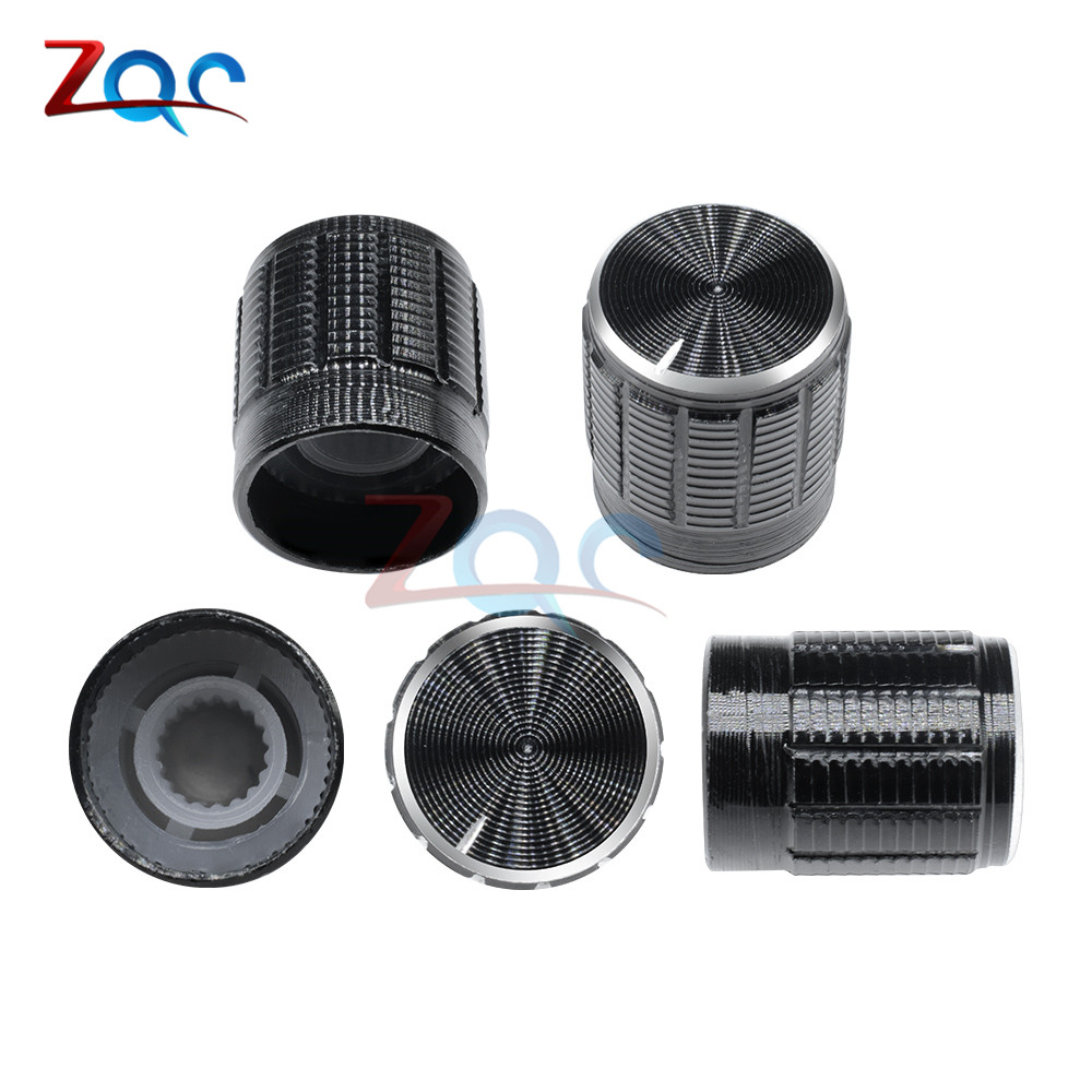 10PCS Black Volume Control Rotary Knobs For 6mm Dia Knurled Shaft Potentiometer 14x16mm