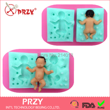 Silica gel Free shipping PRZY 100% 3D Baby silicone mold fondant silicon mold cake decoration mold