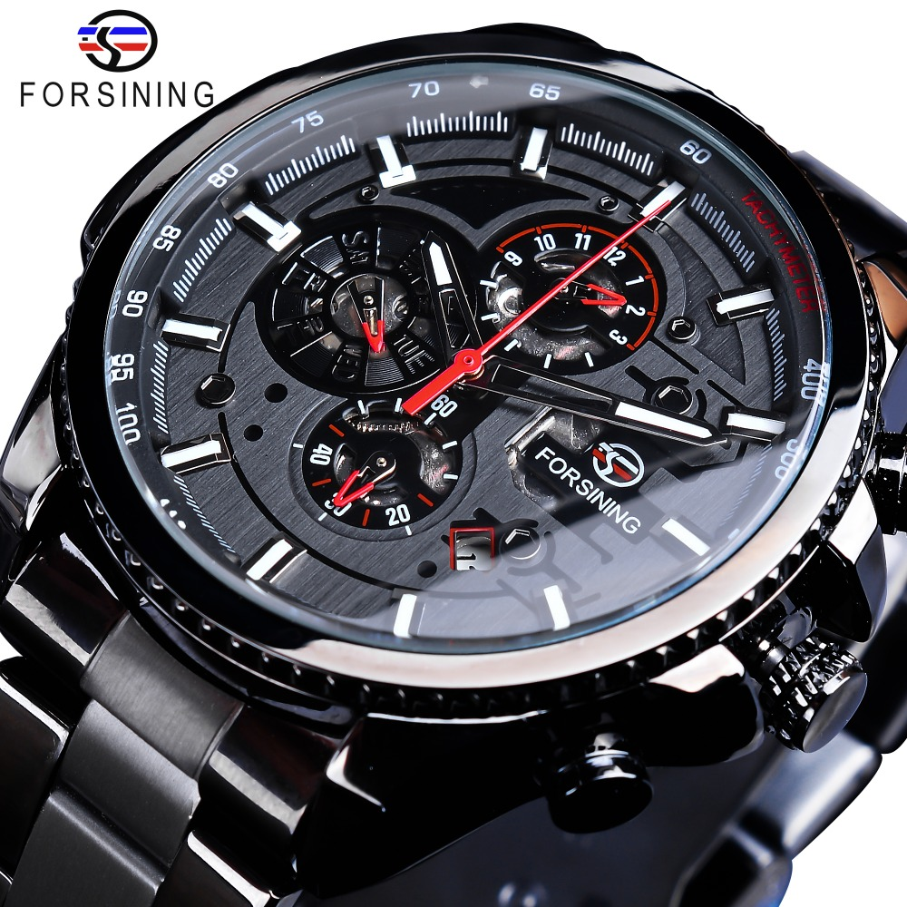 Forsining Three Dial Calendar Display Black Stainless Steel Men Automatic Wrist Watch Top Brand Luxury Military Sport Male Clock(China)