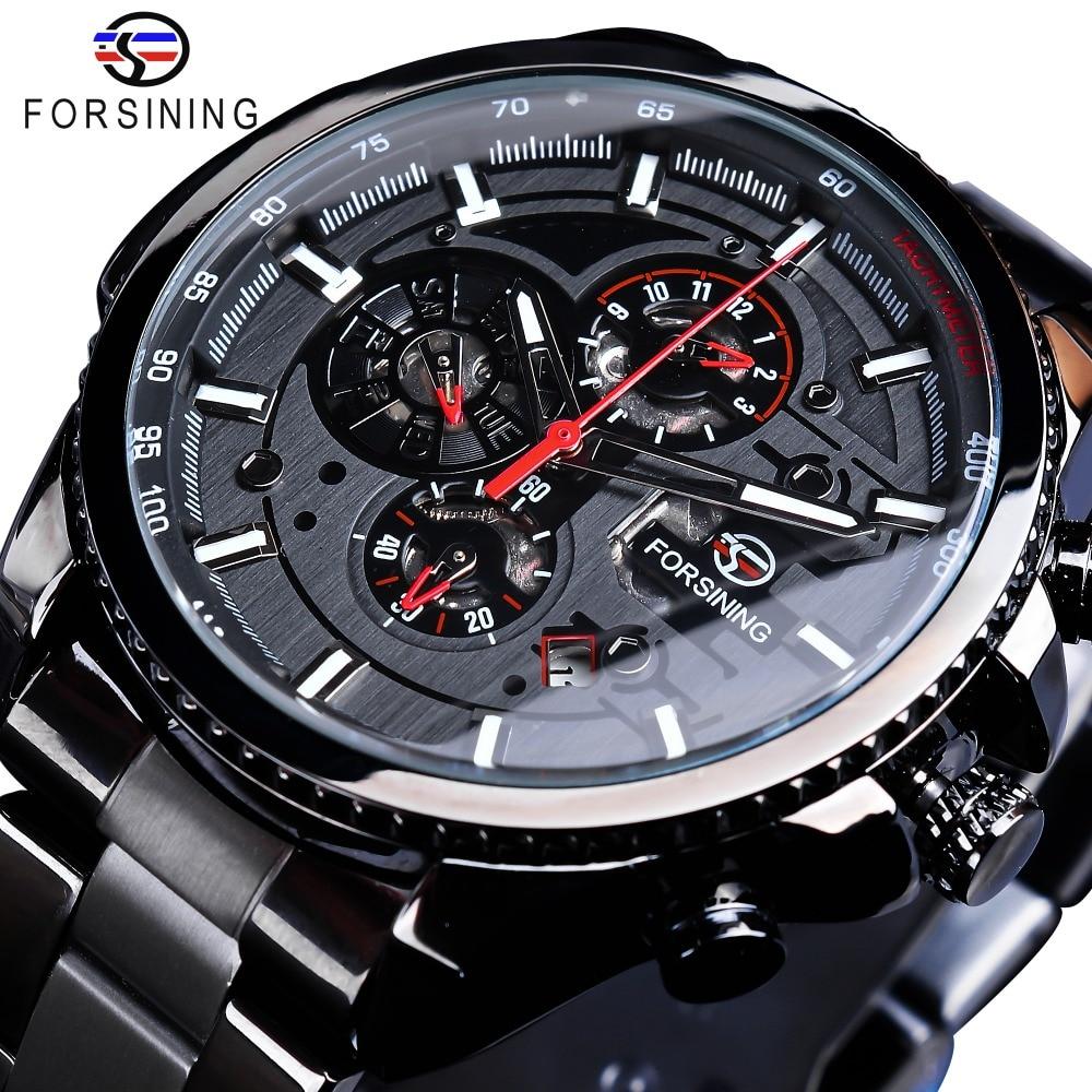 Forsining Three Dial Calendar Display Black Stainless Steel Men Automatic Wrist Watch Top Brand Luxury Military Sport Male Clock