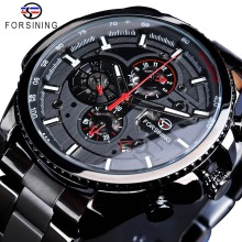 Forsining Clock Calendar-Display Wrist-Watch Stainless-Steel Three-Dial Military Black